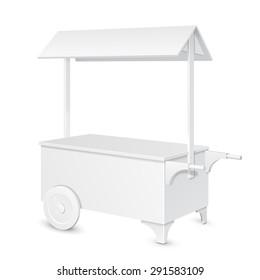 White POS POI Blank Mobile Transportable Retail Stand Stall Bar Display With Roof, Canopy On Wheels. On White Background Isolated. Mock Up Template Ready For Your Design. Product Packing Vector EPS10
