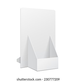 White POS POI Cardboard Blank Empty Show Box Holder For Advertising Fliers, Leaflets Or Products On White Background Isolated. Ready For Your Design. Product Packing. Vector EPS10