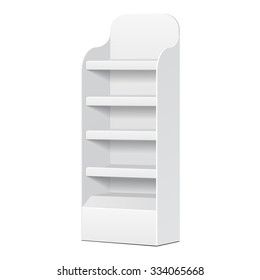 White POS POI Cardboard Floor Display Rack For Supermarket Blank Empty Displays With Shelves Products On White Background Isolated. Ready For Your Design. Product Packing. Vector EPS10