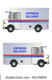 White postal service truck with 'express delivery' sign. Vector illustration. Isolated on white. Icon. Flat style