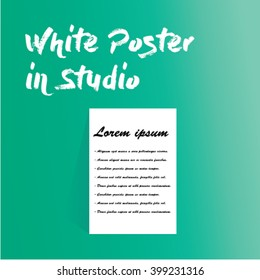 White Poster in green Studio use for any business work.