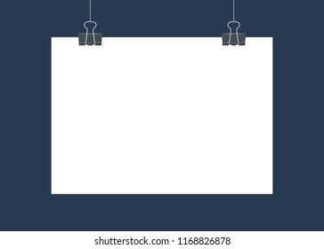 White poster hanging on binder. Empty white vector horizontal poster template. Poster mockup. Template of blank vector poster. Mock up hanging on wall. Frame for paper sheet. A4, A3, A2, A1
