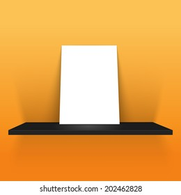 white poster on a shelf in yellow background