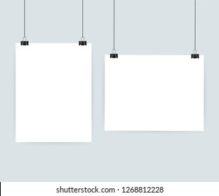 White posters hanging on binder. Grey wall with mock up empty paper blank. Vector stock illustration.
