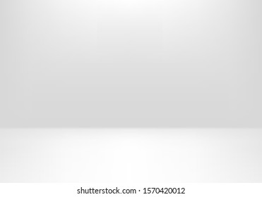 White presentation background, realistic vector illustration. Empty space for product presentation, studio shooting with light, exhibition, show or display concept.