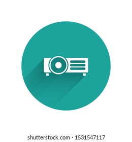 White Presentation, movie, film, media projector icon isolated with long shadow. Green circle button. Vector Illustration