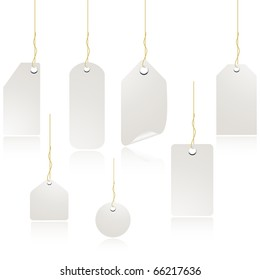 White price label tag set isolated on white vector