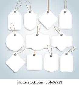White Price tags and gift cards set. Label paper, sale design, isolated vector illustration