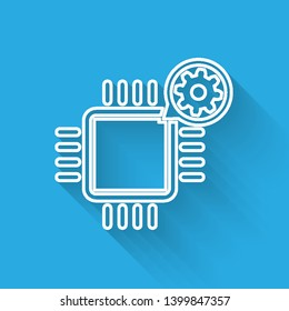 White Processor and gear line icon isolated with long shadow. CPU, chip service concept. Adjusting app, setting options, maintenance, repair, fixing. Vector Illustration