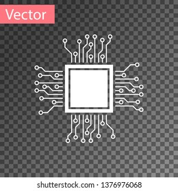 White Processor icon isolated on transparent background. CPU, central processing unit, microchip, microcircuit, computer processor, chip. Vector Illustration