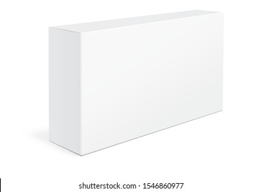 White Product Cardboard Package Box Mock Up  Isolated On White Background. Mockup of  Packaging Box for your design. Vector illustration