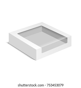 White product cardboard package Box isolated on white background. Carton pack for cookie, sweets, candies or cake. Mock Up Template vector illustration.