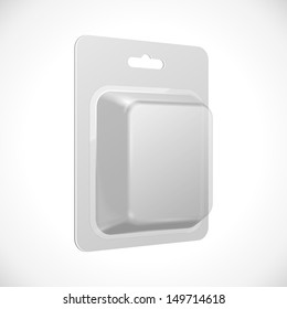 White Product Package Blister Pack Box. Illustration Isolated On White Background. Vector EPS10