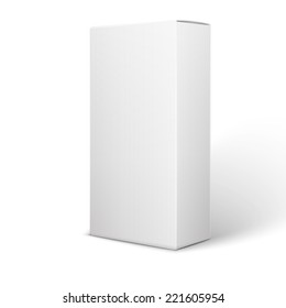 White Product Package Box Illustration Isolated On Background. Product Packing Vector