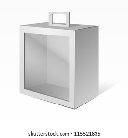 White Product Package Box With Window and handle. Ready For Your Design. Vector EPS10