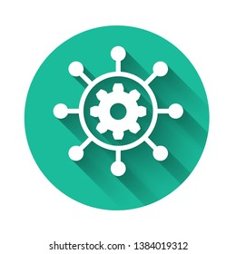 White Project management icon isolated with long shadow. Hub and spokes and gear solid icon. Green circle button. Vector Illustration