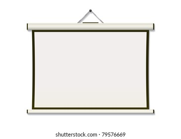White projection screen hanging from wall with copyspace