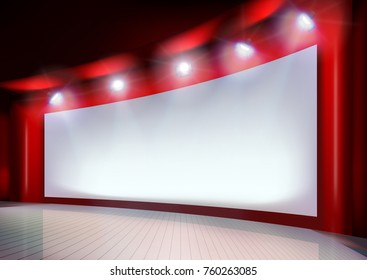 White projection screen on the stage. Vector illustration.