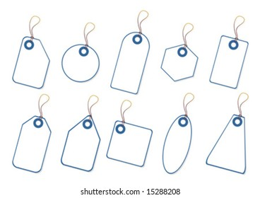 White promo tags with copy space over white background