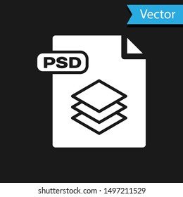 White PSD file document. Download psd button icon isolated on black background. PSD file symbol.  Vector Illustration