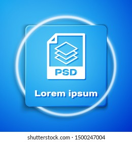 White PSD file document. Download psd button icon isolated on blue background. PSD file symbol. Blue square button. Vector Illustration