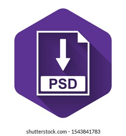 White PSD file document icon. Download PSD button icon isolated with long shadow. Purple hexagon button. Vector Illustration