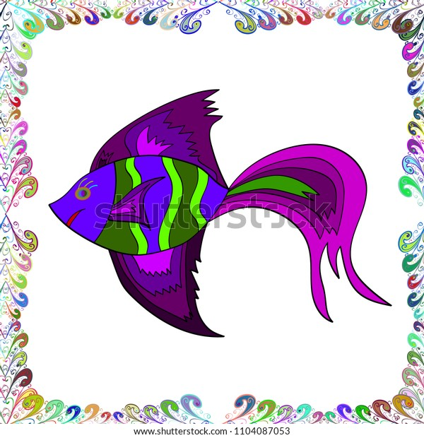 White, purple and green. Seamless. Watercolor texture fish pattern. Vector illustration.