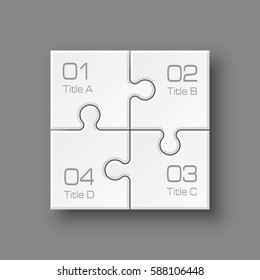 White Puzzle four piece business presentation. Square infograph. Circle 4 Step process diagram card. Section compare service banner. Abstract Background