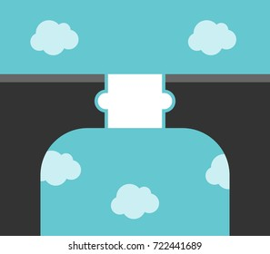 White puzzle piece bridge across large gap high above clouds. Solution, partnership and communication concept. Flat design. Vector illustration, no transparency, no gradients