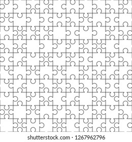 White puzzles pieces seamless pattern. Jigsaw Puzzle template ready for print. Cutting guidelines on white