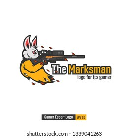 White Rabbit assasins special agent the marksman sniper logo mascot for gaming gamer e-sport team illustration