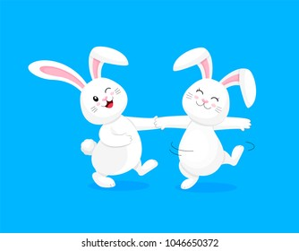 White rabbit dancing. Cute bunny,  Happy Easter day, cartoon character design. Illustration isolated on blue background.