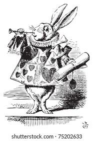 White Rabbit, dressed as herald, blowing trumpet Alice's Adventures in Wonderland original vintage engraving. Near the King was the White Rabbit, with a trumpet in one hand, and a scroll of parchment