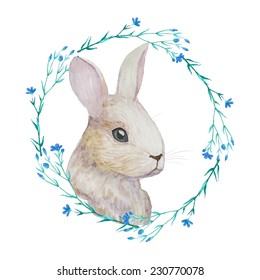 White Rabbit in floral wreath. Watercolor Easter art print. Vector hand drawn illustration in vintage style.