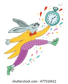 The white rabbit runs with a watch in his hand. Character