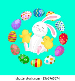 White rabbit sitting between little chicks and eggs. Cartoon character design. Easter holiday concept. Vector illustration isolated on green background.