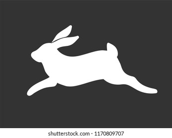 White rabbit vector minimal sign or symbor running jumping bunny silhouette on black background
