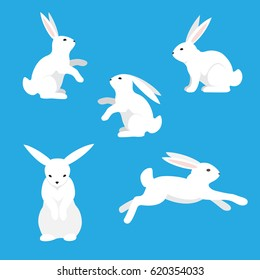 White rabbits on a blue background.