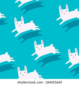 White rabbits running with shadow on a solid background flat design seamless pattern