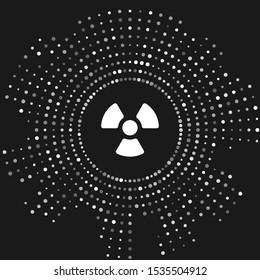 White Radioactive icon isolated on grey background. Radioactive toxic symbol. Radiation Hazard sign. Abstract circle random dots. Vector Illustration