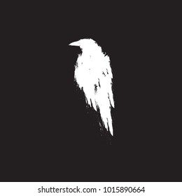 White raven. Crow bird isolated on a black background.