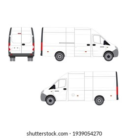 White realist delivery truck. White truck. Vector illustration.