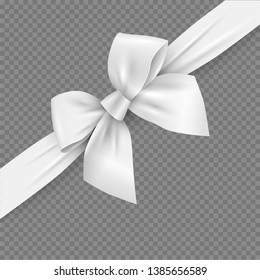 White realistic 3d bow and ribbon with clipping mask. Vector decorative design element for decoration gifts, greetings, holidays. - Vector