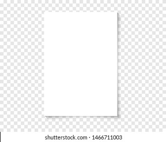 White realistic blank paper page with shadow. Vector A4 paper on transparent background. Paper mockup. Mockup A4 size paper template for your design.