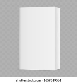 White realistic book isolated on a transparent background. Vector illustration.