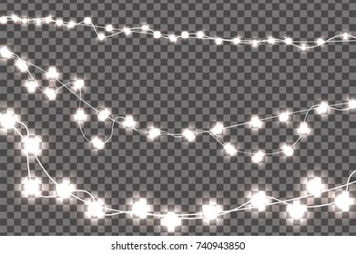 White realistic Christmas lights decorations set isolated on transparent background. For greeting cards. Vector illustration