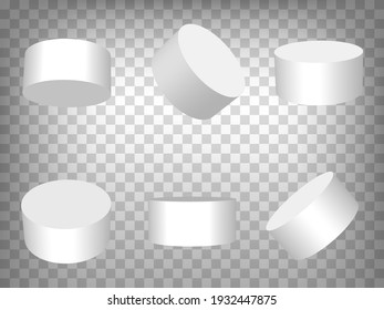 White realistic cylinder, empty stand round podium isolated on transparent background.  3d cylinders. Cylinder and pedestal circle, podium and stand circular  for your  design, app, UI. EPS 10