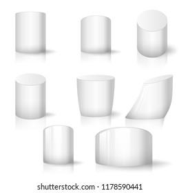 White realistic cylinder set