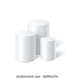 White realistic cylinder stands isolated on white background. Empty space for text. Vector illustration.