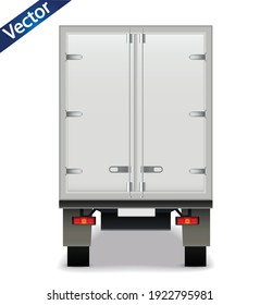 White realistic delivery cargo truck. Lorry for advertising rear view isolated on white background. Delivery cargo truck vector illustration mockup.